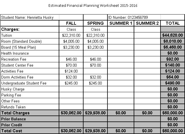 Printables Personal Financial Planning Worksheets financial planning worksheet ahead northeastern the bottom portion outlines anticipated credits including aid and any personal payments made towards your account